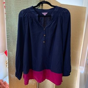 Lilly Pulitzer Navy and Pink Classic Silk Blouse!